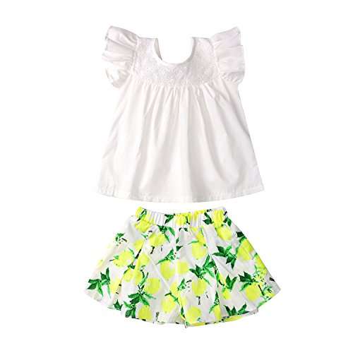 Kids Baby Girl Outfit 2T Toddler White Shirt and Short Floral Pantskirt-Little Dragon Pig (Size2T, Yellow)