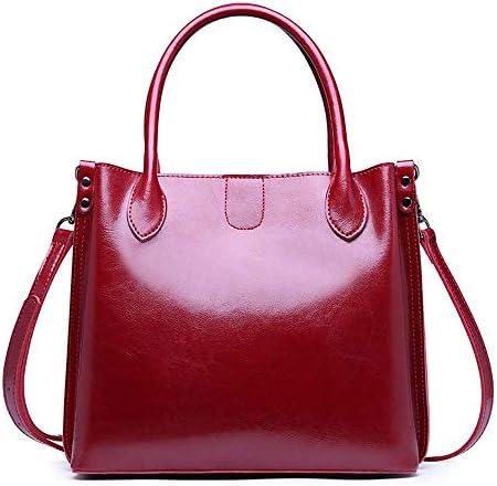 ハンドバッグファッションバッグ新しいファッション野生のショルダーバッグメッセンジャーバッグビッグバッグの革の女性のバッグ、赤/茶色 よくできた (Color : Red)