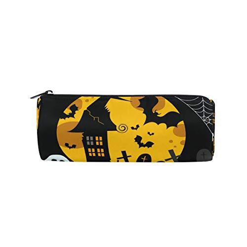 Pencil Case Pencil Bag Round Halloween Pattern Moonlight Lovely Pumpkin Spooky Bat Makeup Bag Pouch Case Cosmetic Travel School Bag
