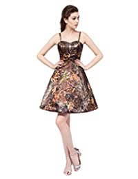 Heartfly Women's Camo Homecoming Dresses Spaghetti Straps Short Evening Gown