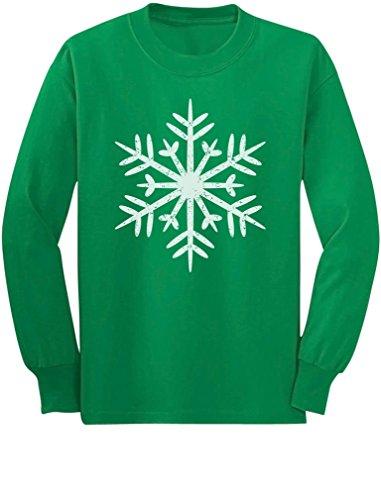 Big White Snowflakes Childrens Xmas Long Sleeve Kids T-Shirt