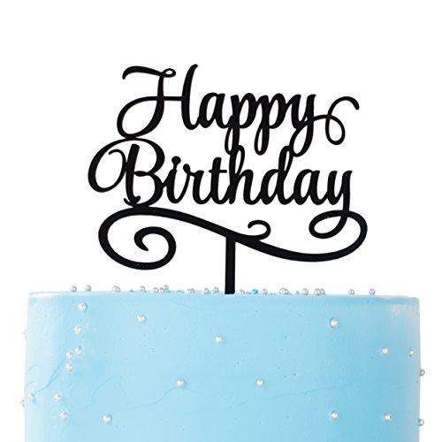 LOVENJOY with Gift Box Happy Birthday Cake Topper (5.7-inch, Black)
