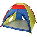 "WolfWise Play Tent Indoor Outdoor Beach Tent Sun Shelter 4 Kids Play House with Two Tunnel Entrance, 59"" x 59"" x 47"", Multi-Color"
