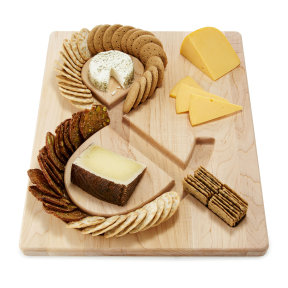 CHEESE & CRACKERS SERVING BOARD | cheese and crackers, maple wood, tray | UncommonGoods