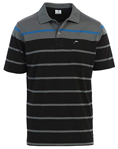 Gioberti Mens Slim Fit Striped Polo Shirt with Pocket, Gray with Dolphin Logo, 2X-Large