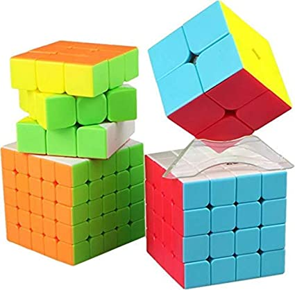 Ash & Roh Abs Plastic Rubiks High Speed Stickerless Magic Brainstorming Puzzle Rubick Cube (2x2 3x3 4x4 5x5, Multicolour) - Combo Set of 4