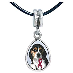 Chicforest Silver Plated Puppy Wearing Red Ribbon Photo Angel Tears Charm Beads Fits Pandora Bracelet