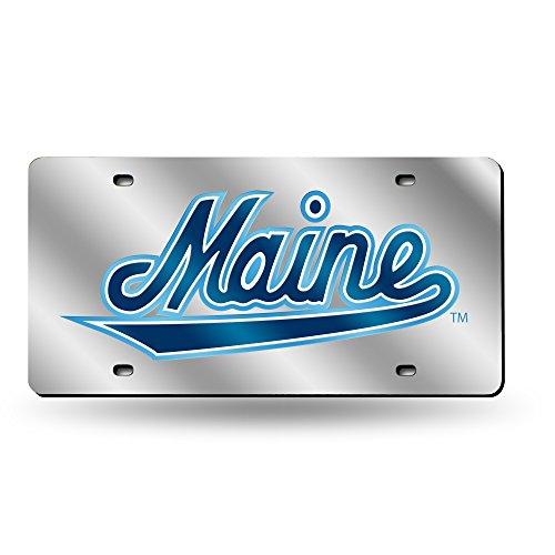 Rico Industries NCAA Maine Black Bears Laser Inlaid Metal License Plate Tag, Silver