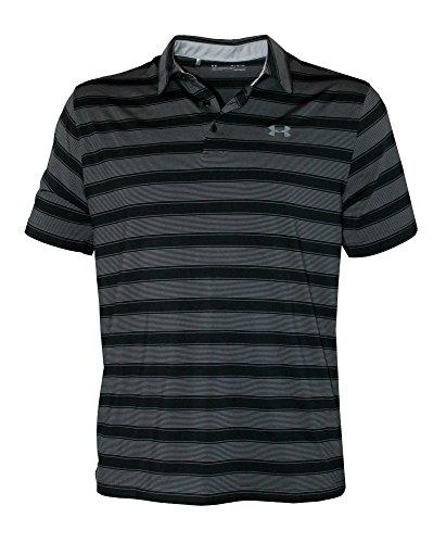 Under Armour Men's Performance Striped Shirt HeatGear Polo (Black, XXL) (Under Armour Mens Xxl Shirts)