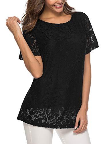 Koitmy Women's Short Sleeve Round Neck Lace T-Shirt Blouse Tunics Tops Black
