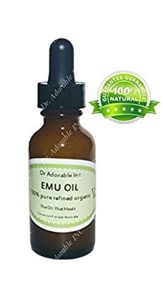 Australian Emu Oil by Dr. Adorable Triple Refined Organic 100% Pure 1 Oz with Glass Dropper