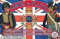 (Napoleonic Wars Waterloo 1815 King's German Legion Horse Artillery Crew (5) w/Cannon 1/32 Armies in Plastic )