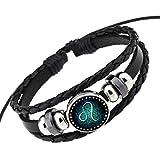 Joyhul Advanced Retro 12 Constellation Beaded Hand Woven Leather Bracelet Punk Chain Cuff