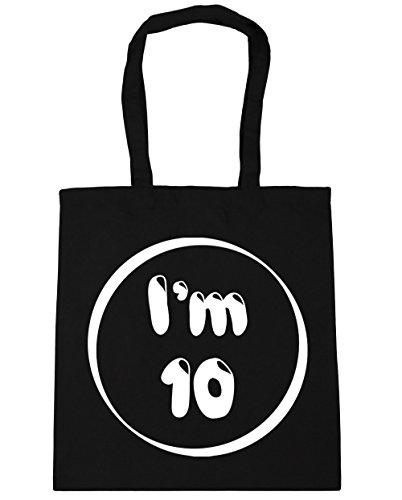 HippoWarehouse I 'm 10bolsa de la compra bolsa de playa 42cm x38cm, 10litros negro