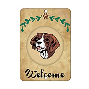 Aluminum Metal Sign Funny Welcome English Springer Spaniel Dog Informative Novelty Wall Art Vertical 8INx12IN 34