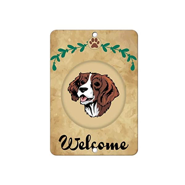 Aluminum Metal Sign Funny Welcome English Springer Spaniel Dog Informative Novelty Wall Art Vertical 8INx12IN 1
