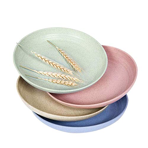 Degradable Lightweight Wheat Straw Plates - 4 Pack 7.9'' Unbreakable Dinner Plates, Non-toxin, Dishwasher & Microwave Safe, BPA free and Healthy for Kids, Children, Toddler & Adult
