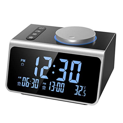 ORIA FM Radio Alarm Clock, Digital Alarm Clock Radio, Dual Alarm with USB Charger, 5 Level of Brightness, 12h and 24h Switchable, Sleep and Snooze Functions, Temperature Display for Home, Bedroom
