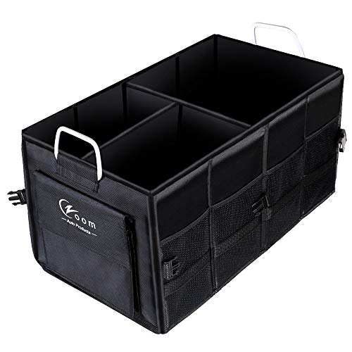 Czoom Car Trunk Organizer for SUV, Truck, Auto, Vehicle, Minivan, Home - Heavy Duty Portable Collapsible Cargo Storage - Durable Construction - Multi Compartments Cargo Carrier Caddy (Black) (Organizer Plastic Trunk)