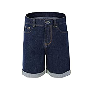 Bienzoe Girl's Denim High Waist Rolled Hem Stretchy Navy Jeans Shorts