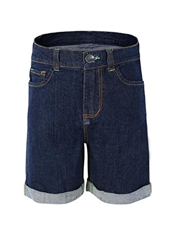 Bienzoe Girl's Soft Denim High Waist Stretchy Jeans Navy Shorts Size 16 (Bermuda Slim Shorts)