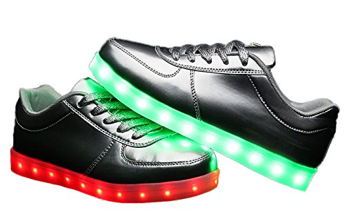 Plaid E Pianura Unisex Donna Da Uomo Stringate Basse Caricabatterie Usb Led Ricarica Sneaker Argento