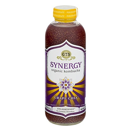 GT'S ENLIGHTENED KOMBUCHA Synergy Organic Kombucha Tea, Grape Chia, 16.2 Ounce (Pack of 12) (Synergy Chia Drink With)