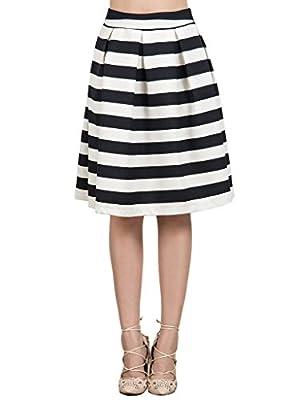 Joeoy Women's High Waist Stripe Print Flare Pleated A-Line Midi Skirt