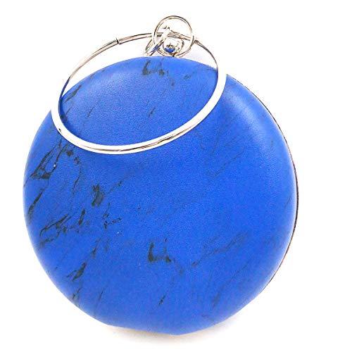 Goldina Women's Clutch Evening Bags Round Purse Hoop Portable Shoulder Cross-body Marble Stone Bags ()