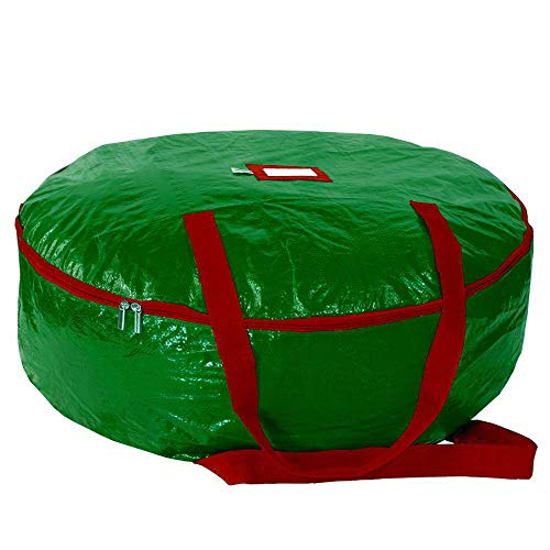 "WHYSKO Wreath Storage Bag for 30"" Christmas Wreath - Durable Quality - Water & Tear Resistant Material - 30"" L 30"" W 8"" H (Green)"