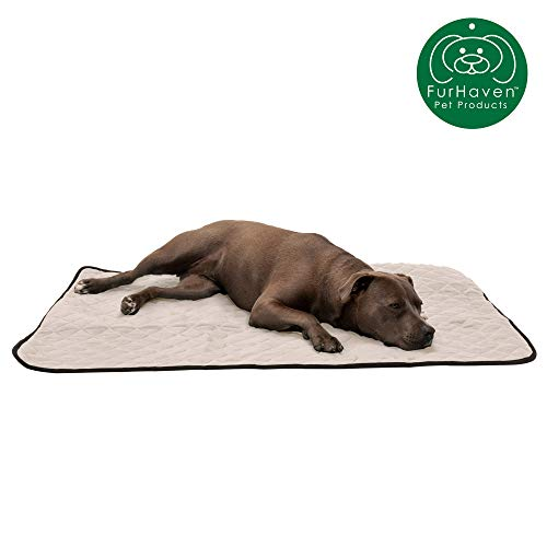 Furhaven Pet Dog Bed Heating Pad | ThermaNAP Quilted Plush Velvet Insulated Thermal Self-Warming Pet Bed Mat for Dogs & Cats, Clay, Large