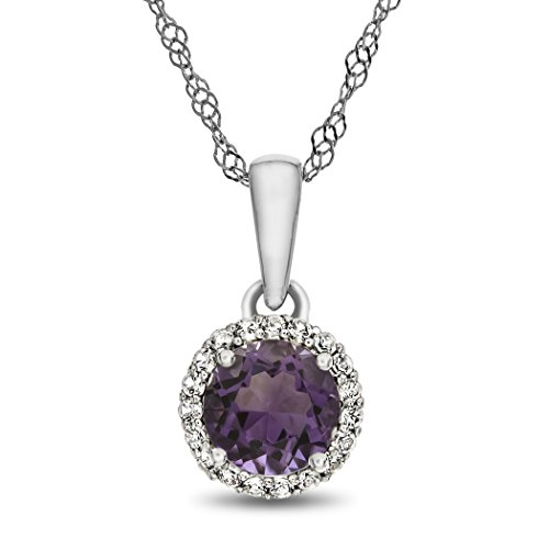 Slide Alexandrite (Finejewelers 10k White Gold 6mm Round Simulated Alexandrite with White Topaz accent stones Halo Pendant Necklace)