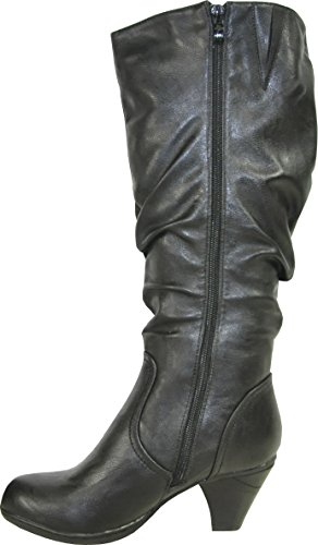 KOZI Women Heel Boot SD4506 Fur Lining Winter Boot with a Round Toe Black 41M 2Xi7t