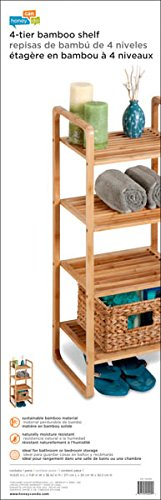 Honey-Can-Do SHF-02099 4-Tier Natural Bamboo Accessory Storage Shelf, 14 by 11 by 36-Inch by Honey-Can-Do (Image #3)