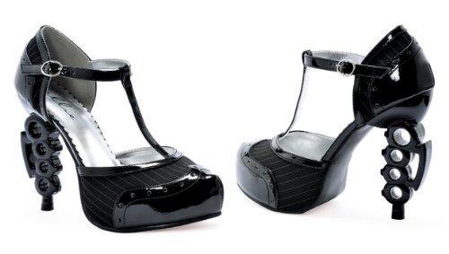 Ellie Shoes E-550-pinstripe5 Pompa Tacco Con Tirapugni Tallone 5 Nero Nero