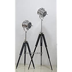 Vintage Industrial Theater Stage Spotlight Searchlight Floor Lamp With Wooden Stand - SET OF 2