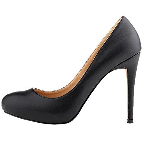 HooH Damen Pumps Plattform High Heel Kleid Pumps Hochzeit Schuhe Slip On Schwarz-1