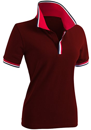 CLOVERY Women's Basic Solid Short Sleeve Basic Polo Shirts Wine US M/Tag M