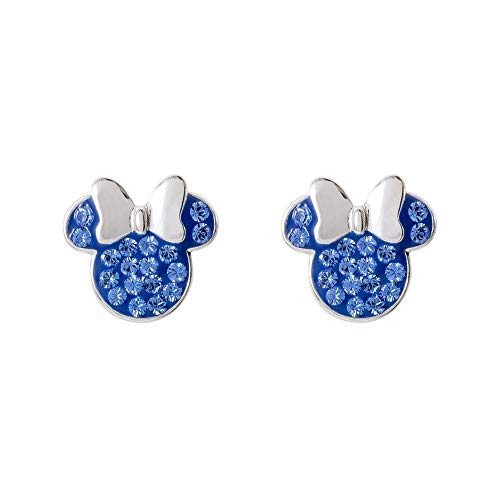 Disney Minnie Mouse Birthstone Jewelry for Women, Sterling Silver Pave Crystal Stud Earrings (More Colors Available) Mickey's 90th Anniversary, September ()