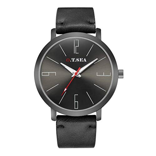 XBKPLO Quartz Watches for Men Sports Minimalist Ultra-Thin Waterproof Analog Wrist Watch Leather Strap