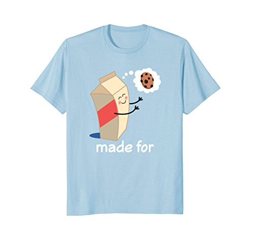 Mens Couples Valentines Day Gift Matching Milk Cookie T-shirt Large Baby Blue