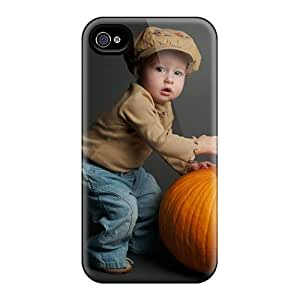 RYX6553yrFA Case Cover Cute Baby With Pumpkin Iphone 4/4s Protective Case