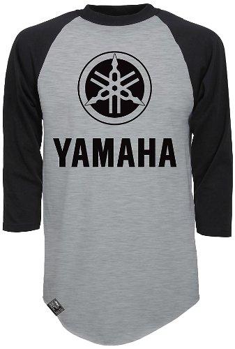 Factory Effex 17-87222 'YAMAHA' Raglan Baseball Shirt (Heather Gray/Black, Medium)