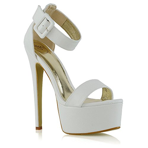 ESSEX GLAM Womens Ankle Strap Open Toe Ladies Stiletto High Heel Platform Party Shoes Size White Synthetic Leather MwahI