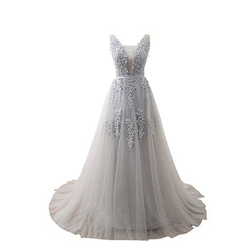 Huifany Junior High School Teen Girl's Prom Dress Wedding Party Dress Plus Size Grey,US16