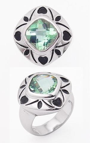 Genuine Checkerboard Green (4.5ct Checkerboard Cushion Cut Genuine Sea Green Topaz Rhodium Plated Sterling Silver Ring Size 6(Sizes 6,9))