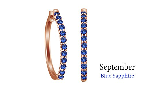 Jewel Zone US Round Cut Simulated Blue Sapphire Elongated Hoop Earrings in 14k Rose Gold Over Sterling ()