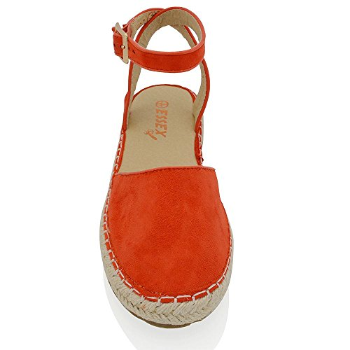 ESSEX GLAM Womens Casual Synthetic Ankle Strap Flat Espadrille Shoes Orange Faux Suede DbwsH