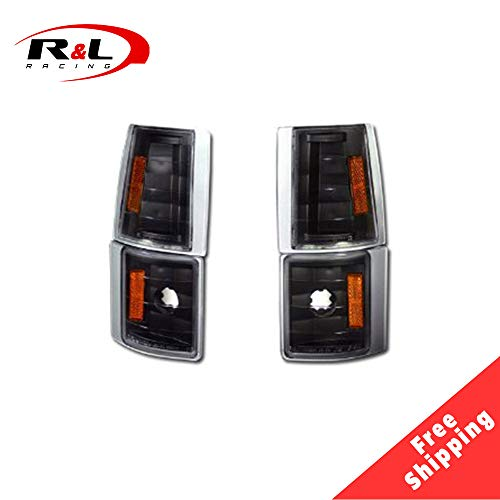 R&L Racing Black Parking Corner Lights Amber Signal Lamps K2 1994-2000 for GMC C10 Ck C/K Pickup/Suv
