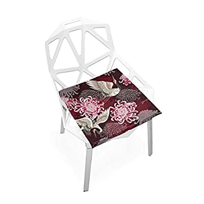 Bardic FICOO Home Patio Chair Cushion Japanese Crane Flower Square Cushion Non-Slip Memory Foam Outdoor Seat Cushion, 16x16 Inch: Home & Kitchen